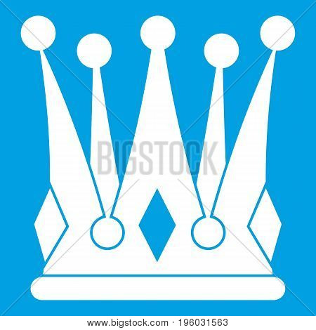 Kingly crown icon white isolated on blue background vector illustration