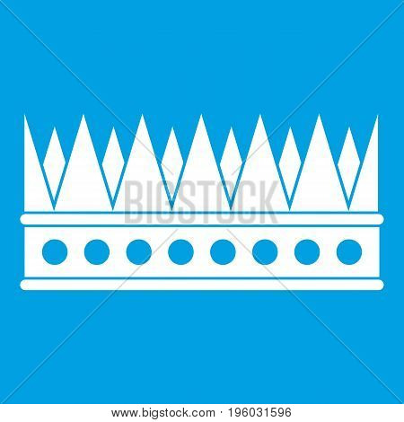 Regal crown icon white isolated on blue background vector illustration