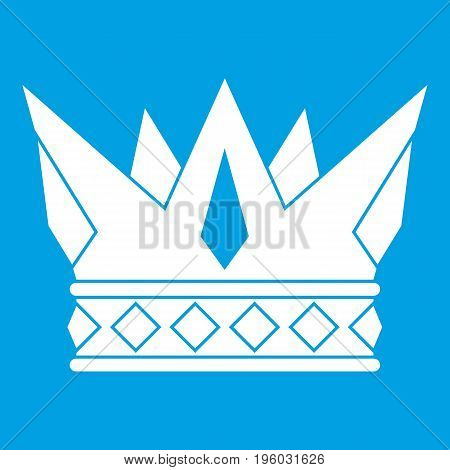 Cog crown icon white isolated on blue background vector illustration