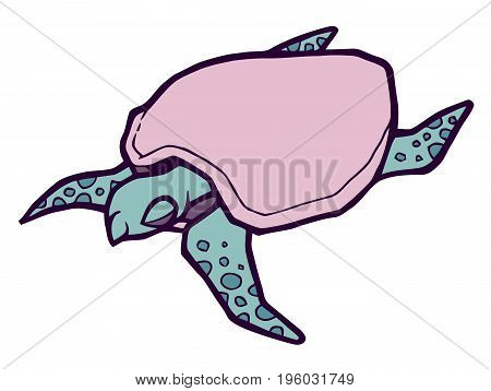Gentle sea turtle - stylized vector illustration