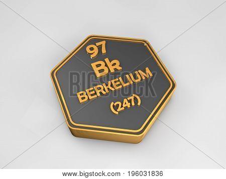 berkelium - Bk - chemical element periodic table hexagonal shape 3d render