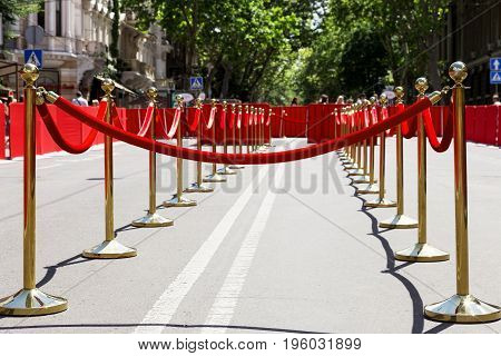 Way To Success On The Red Carpet (barrier Rope). Selective Focus