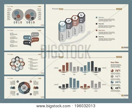 Infographic design set can be used for workflow layout, diagram, annual report, presentation, web design. Business and consulting concept with process and percentage charts.