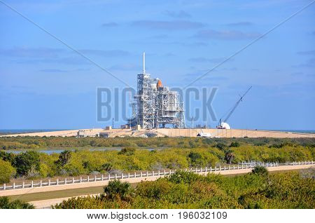 FLORIDA,USA - DEC 20, 2010: Space Shuttle Discovery on the Launch Pad prepare for her last mission (STS-133), Kennedy Space Center in Cape Canaveral, Florida, USA.