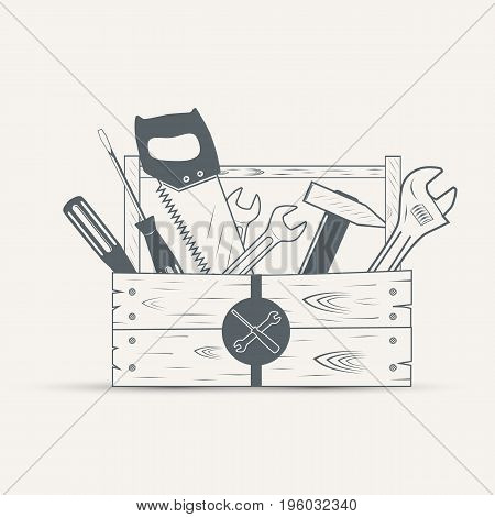 set of tools wood box on a vintage style - vector illustration