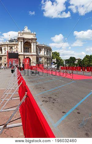 Odessa, Ukraine - July 15, 2017: Way To Success On The Red Carpet (barrier Rope). Odessa Internation