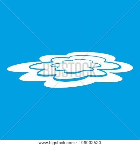 Water puddle icon white isolated on blue background vector illustration