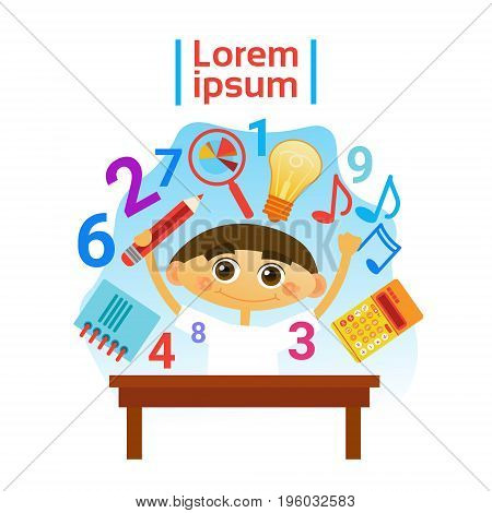 Small Boy Learning Child Preschool Education Concept Flat Vector Illustration