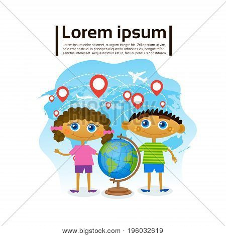 Small Kids Holding Globe Over World Map, Children Learning Geography Hobby Flat Vector Illustration