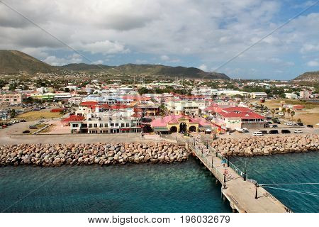 Port Zane cruise terminal and mountain views on the island of St. Kitts