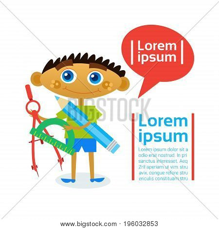Small Boy Holding Compasses And Pencil, Child Learning Cartography Hobby Flat Vector Illustration
