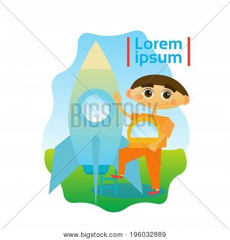 Small Boy Astronaut Sitting In Space Ship Kid Spaceman Flat Vector Illustration