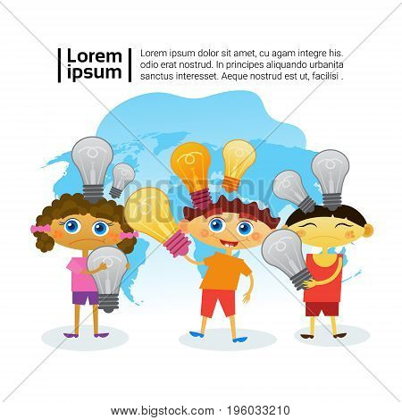 Group Of Smart Kids Holding Light Bulbs Children Preschool Education Concept Flat Vector Illustration