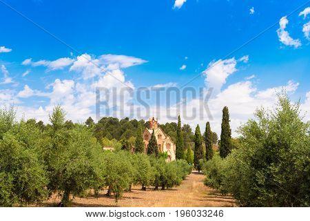 Сhurch Ermita Mare de Deu de la Riera in Les Borges del Camp, Tarragona, Catalunya, Spain. Copy space for text