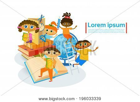 Kids Learing Together Small Children Visiting Classes Develop Hobbies Flat Vector Illustration