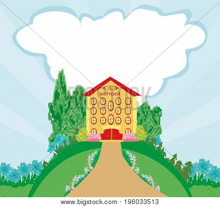 Funny school building on abstract landscape  , vector illustration