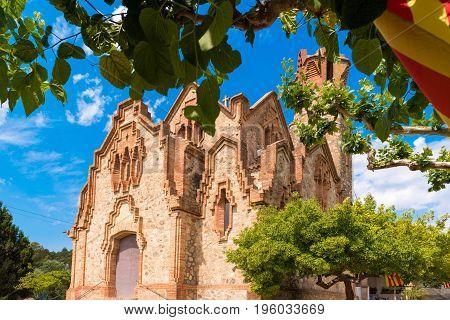 Сhurch Ermita Mare de Deu de la Riera in Les Borges del Camp, Tarragona, Catalunya, Spain. Close-up poster
