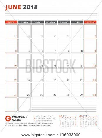 Calendar Template For 2018 Year. June. Business Planner 2018 Template. Stationery Design. Week Start