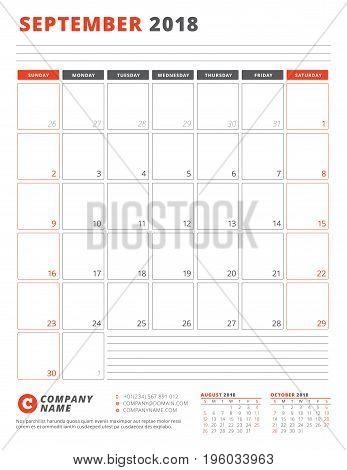 Calendar Template For 2018 Year. September. Business Planner 2018 Template. Stationery Design. Week