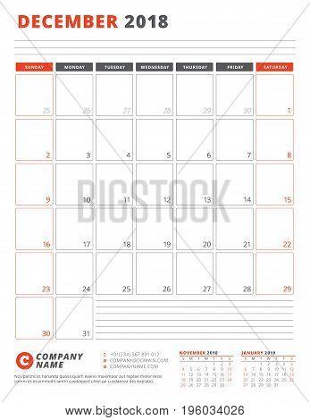 Calendar Template For 2018 Year. December. Business Planner 2018 Template. Stationery Design. Week S