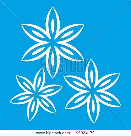 Star anise icon white isolated on blue background vector illustration