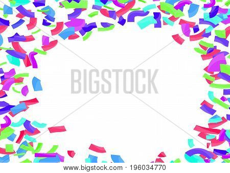 Colorful bright confetti abstract layout over white. Vector illustration
