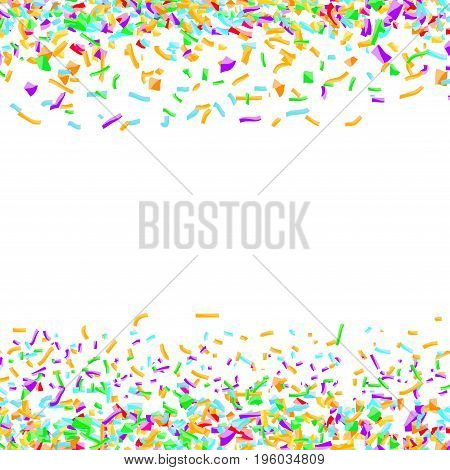 Bright colorful confetti layout over white background. Abstract paper pieces isolated. Easy to apply any Image or Graphics. Vector illustration