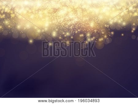 Bokeh Shine light Abstract Elegant Glow Background. Gold Shiny Fog Dust. Festive Bright Beautiful Fireworks Glitter. Vector illustration