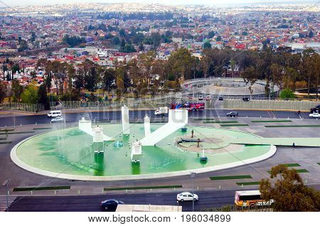 PUEBLA MEXICO - MARCH 2: Cityscape with the monument of Zaragoza Ignacio in Puebla Mexico on March 2 2017