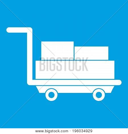 Cart with luggage icon white isolated on blue background vector illustration