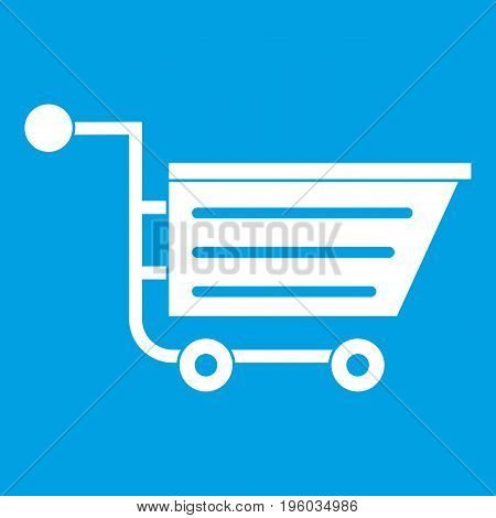 Sale shopping cart icon white isolated on blue background vector illustration
