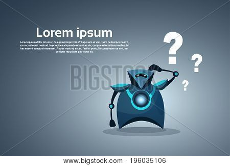 Modern Robot Thinking Question Artificial Intelligence Concept Vector Illustration