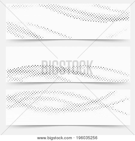 Modern abstract wave pattern pop art distressed header collection. Vector illustration