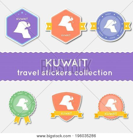 Kuwait Travel Stickers Collection. Big Set Of Stickers With Country Map And Name. Flat Material Styl