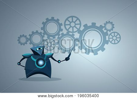 Modern Robot Pointing On Cog Wheel Machine Artificial Intelligence Futuristic Mechanism Technology Vector Illustration