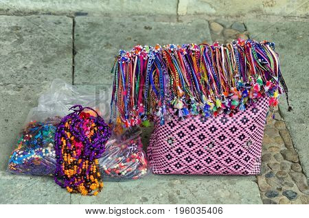 Colorful traditional bag and handicraft for sale in a street in Oaxaca Mexico