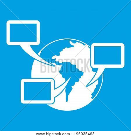World planet and speech bubbles icon white isolated on blue background vector illustration