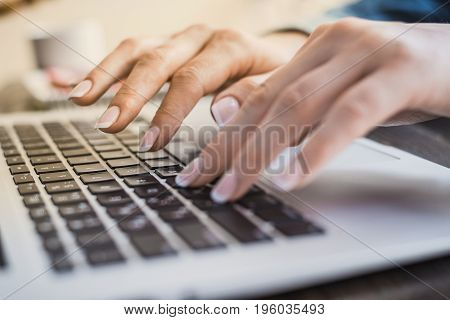 Morning Business Woman. Female Hands Working On A Laptop, Close-up. Horizontal Frame