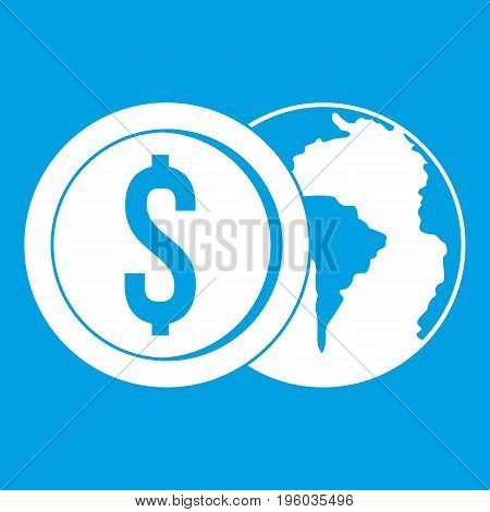 World planet and dollar coin icon white isolated on blue background vector illustration