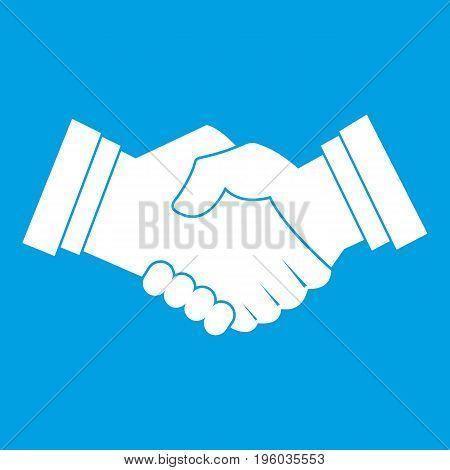 Business handshake icon white isolated on blue background vector illustration