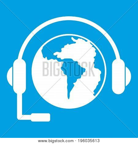 World planet and headset icon white isolated on blue background vector illustration