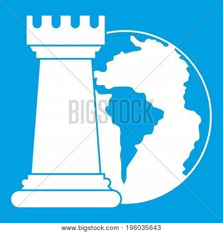 World planet and chess rook icon white isolated on blue background vector illustration
