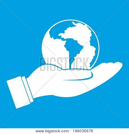 World planet in man hand icon white isolated on blue background vector illustration