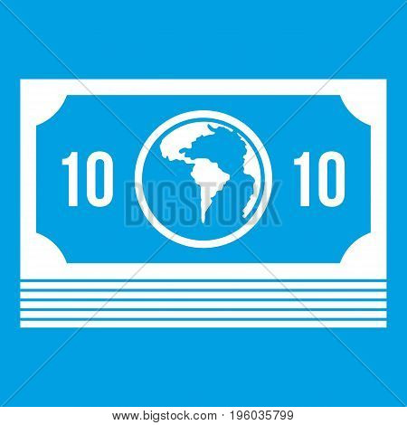 Money stack icon white isolated on blue background vector illustration