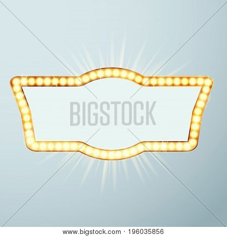 Bright large glowing now showing cinema night neon sign. Night retro circus announcement light frame. Vector illustration