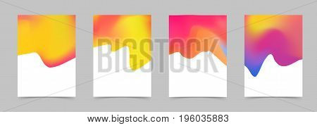 Bright colorful abstract liquid modern poster design. Mild fluid graphic folder layout collection. Halftone color border background. Vector illustration