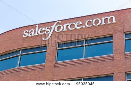 SAN FRANCISCO CA/USA - MAY 31 2014: Salesforce.com corporate headquarters. Salesforce.com Inc. is a global cloud computing company headquartered in San Francisco California known for its customer relationship management (CRM) product.