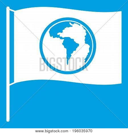 Flag with world planet icon white isolated on blue background vector illustration