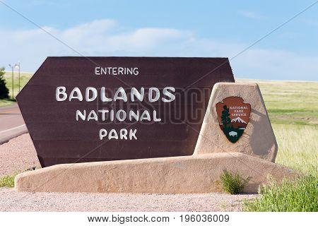 Badlands National Park Entrance Sign