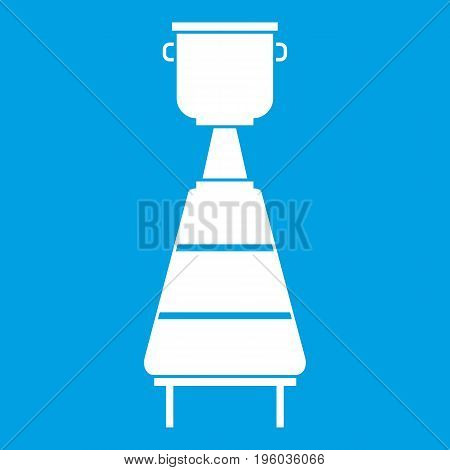 Wine distillery equipment icon white isolated on blue background vector illustration